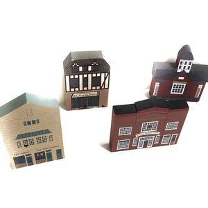 The Cat's Meow set of four village building decor